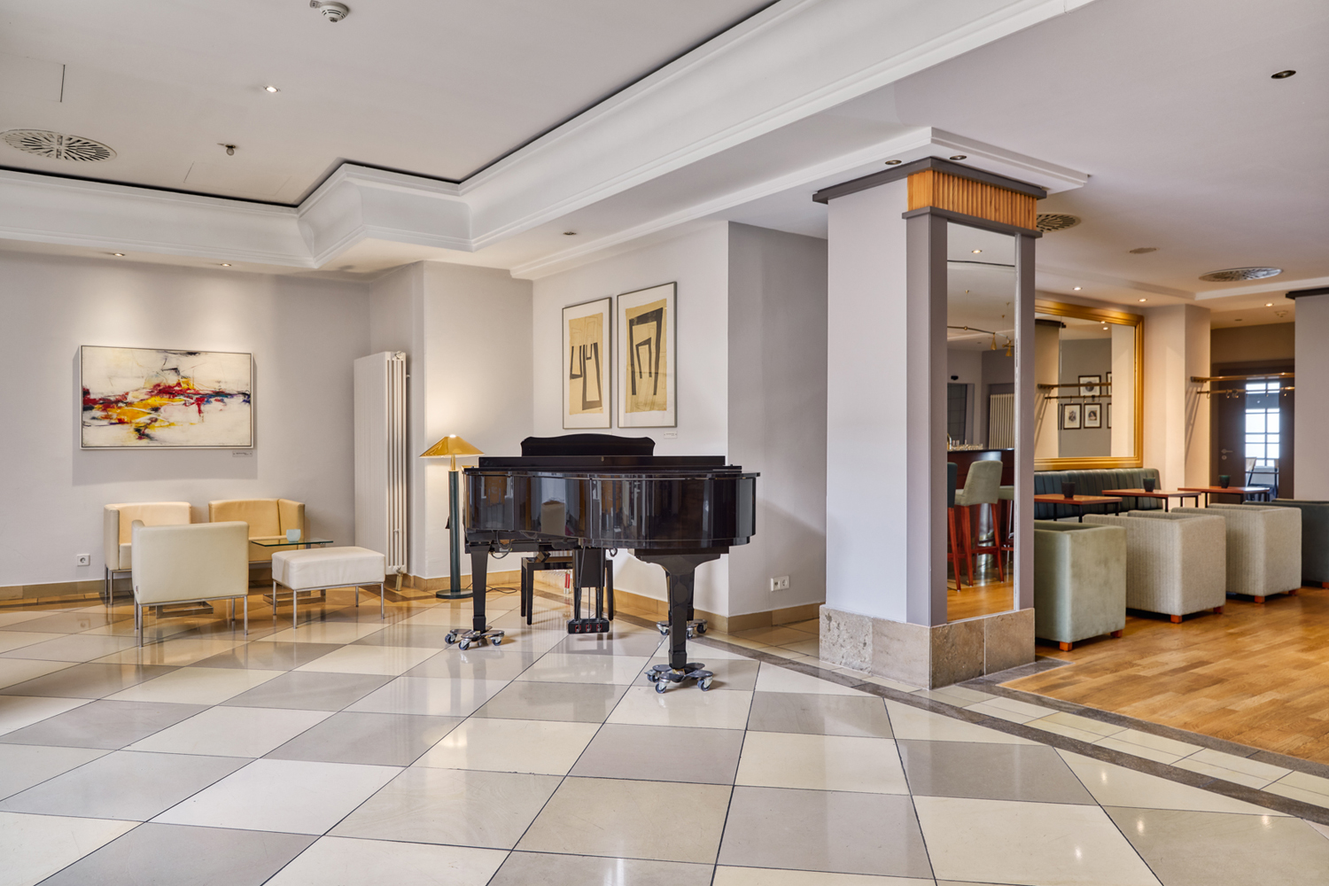 Hotel Lobby and bar with piano